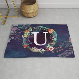 Personalized Monogram Initial Letter U Floral Wreath Artwork Rug