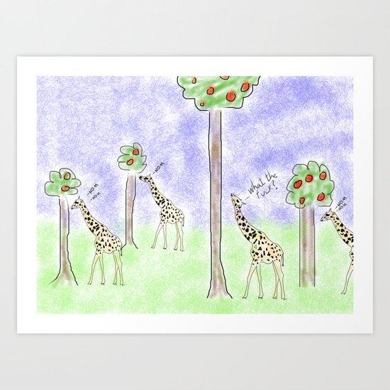 it ain't easy being a giraffe Art Print