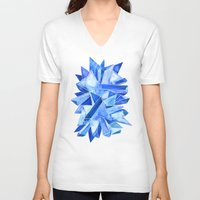 geode V-neck T-shirts featuring Sapphire Watercolor Facets by Cat Coquillette