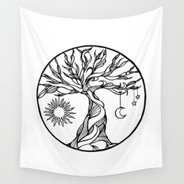 black and white tree of life with hanging sun, moon and stars I Wall Tapestry
