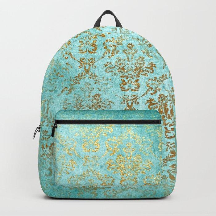 Mermaid Gold Aqua Seafoam Damask Backpack