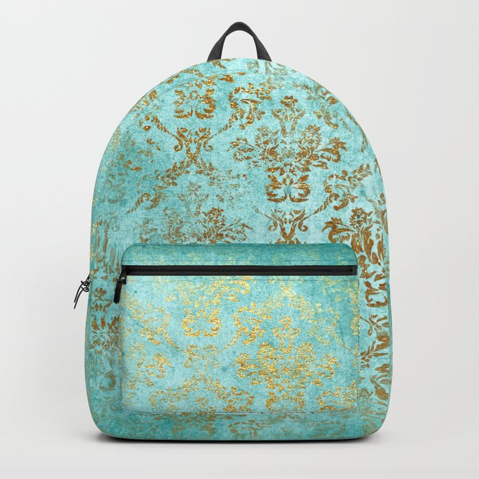 Mermaid Gold Aqua Seafoam Damask Backpack