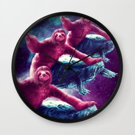 Crazy Funny Space Sloth Riding On Turtle Wall Clock