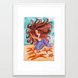 mermaid brown hair Framed Art Print