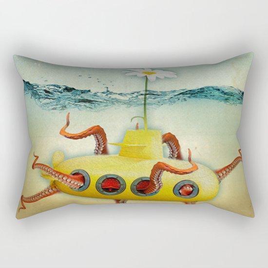 yellow submarine in an octapuses garden Rectangular Pillow