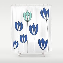Drawing of Blue and Aqua Whimsical Tulips by Emma Freeman Designs Shower Curtain