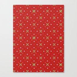 Red Festive Star Snow Flake Lattice Winter Canvas Print