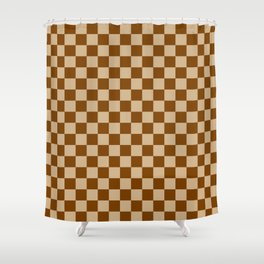 Tan Brown And Chocolate Checkerboard Shower Curtain