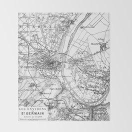 Vintage Paris Map Throw Blanket