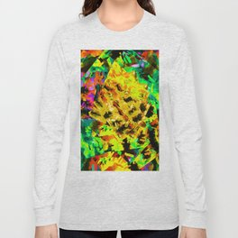 yellow green brown red orange abstract painting background Long Sleeve T-shirt