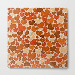 Sparkling Hearts, orange Metal Print