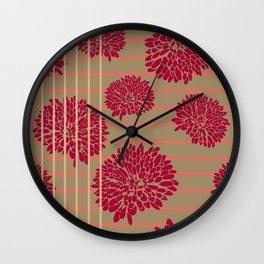 Shine Stripes - Magenta Pink and Tan Wall Clock
