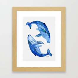 Humpback Whale   Ocean Blue Framed Art Print