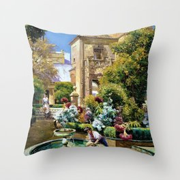 The Gardens of the Royal Alcazar, Seville, Spain by Manuel Garcia y Rodriguez Throw Pillow