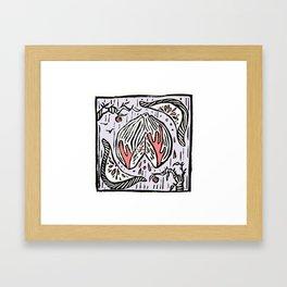 Blood Orange - Linoprint Framed Art Print