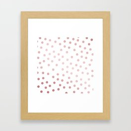 Simply Dots in Rose Gold Sunset Framed Art Print