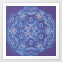 Ultra-violet kaleidoscope mandala with fractal texture Art Print