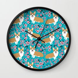 Welsh Corgi cherry blossoms dog portrait custom dog art spring floral dog pattern pet friendly Wall Clock