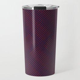 Cris Cross Red Weave on Blue Travel Mug