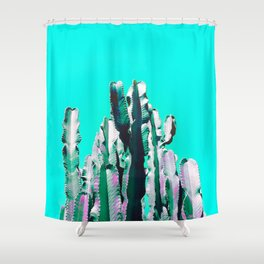 Majestic Cactus - Aqua Shower Curtain