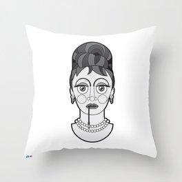 Audrey Hepburn - B&W Divas Throw Pillow