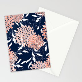 Floral Blooms and Leaves, Navy, Coral and White Stationery Cards