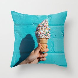 Holding a colorful ice cream Throw Pillow