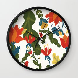 Tropical Flower Pattern Wall Clock