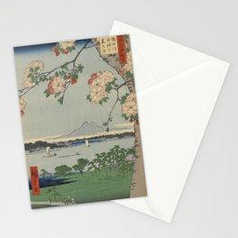 Cherry Blossoms on Spring River Ukiyo-e Japanese Art Stationery Cards