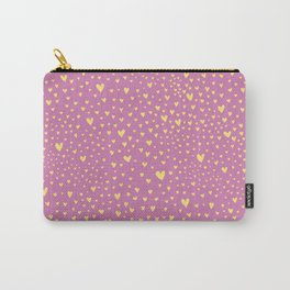 Little yellow love hearts on sugar pink pattern Carry-All Pouch