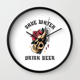Save Water Drink Beer Wall Clock
