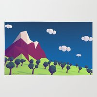 low poly Area & Throw Rugs featuring Low-Poly Mountain by Jorge Antunes