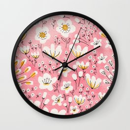 Pink Meadow of Flowers Wall Clock