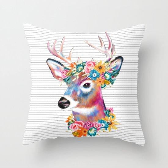 Floral Deer Throw Pillow