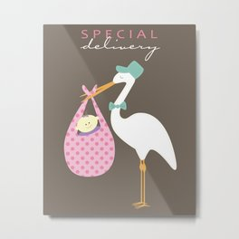 Special Delivery Baby Girl Metal Print