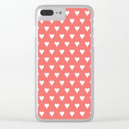 Coral White Hearts Pattern Clear iPhone Case