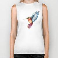 hummingbird Biker Tanks featuring Hummingbird by Alejandra Lara