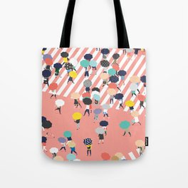 Crossing The Street On a Rainy Day Tote Bag