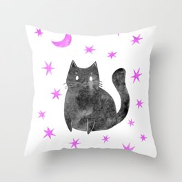 Black Cat with Pink Stars Throw Pillow