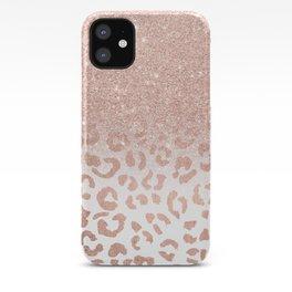 Trendy modern faux rose gold glitter ombre leopard pattern iPhone Case