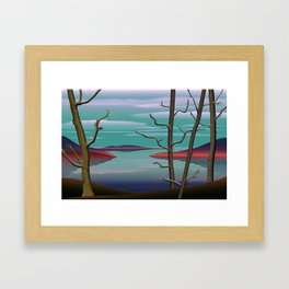 Spring Trees By A Lake. Framed Art Print