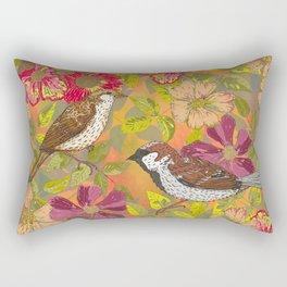Sweet Sparrows and Briar Rose Rectangular Pillow
