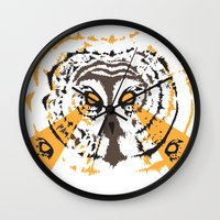 psych Wall Clocks featuring Psych Owl by T Dupuis