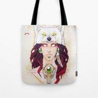 mononoke Tote Bags featuring Mononoke by Electricalivia