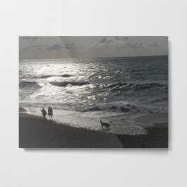 Walk along the shore  Metal Print