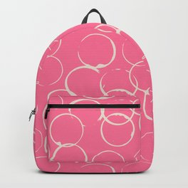 Circles Geometric Pattern Pink Antique White Backpack
