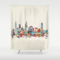 montreal Shower Curtains featuring Montreal Quebec skyline by bri.buckley