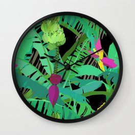 Banana Jungle in Black Wall Clock