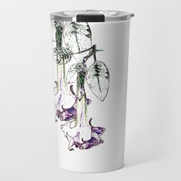 Illustrated Moonflower in Purple and Green Travel Mug