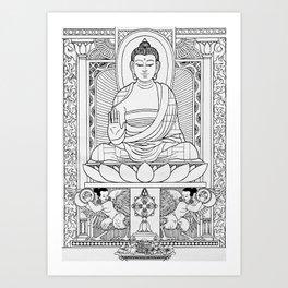 Buddha Black & White Art Print